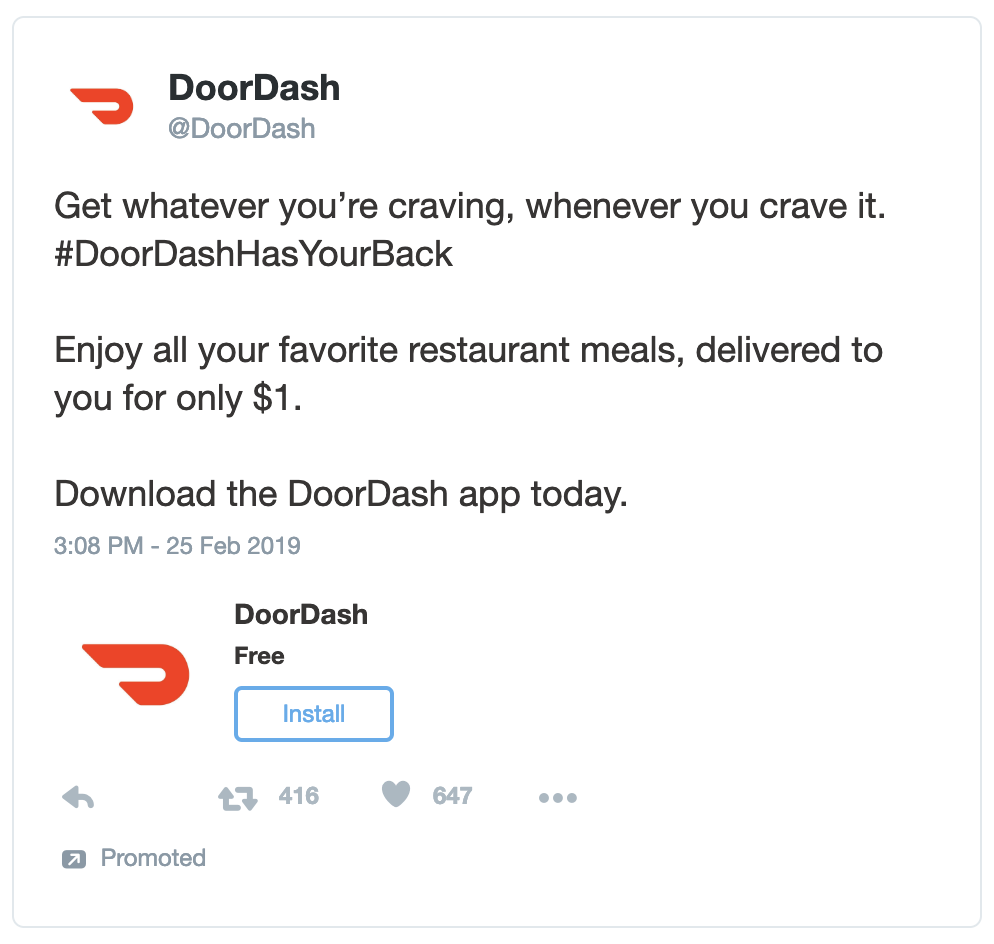 DoorDash - App Download Twitter Ad